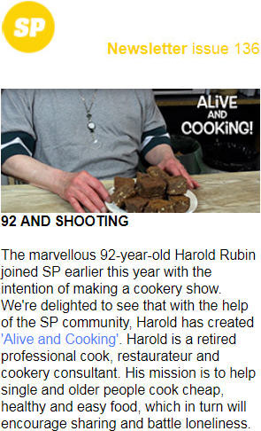 Alive and Kicking Cookery pilot Shooting People Newsletter 136 on portfolio page